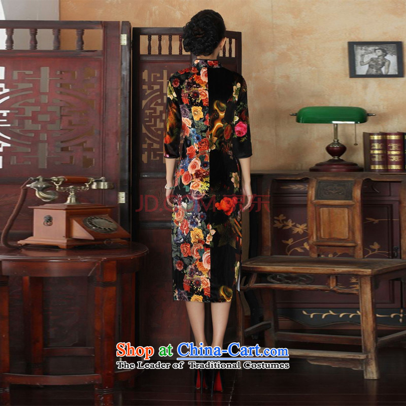 Min Joseph new Superior elasticity Kim scouring pads, peony flowers long qipao gown of autumn and winter dresses picture color XL, Min Joseph shopping on the Internet has been pressed.