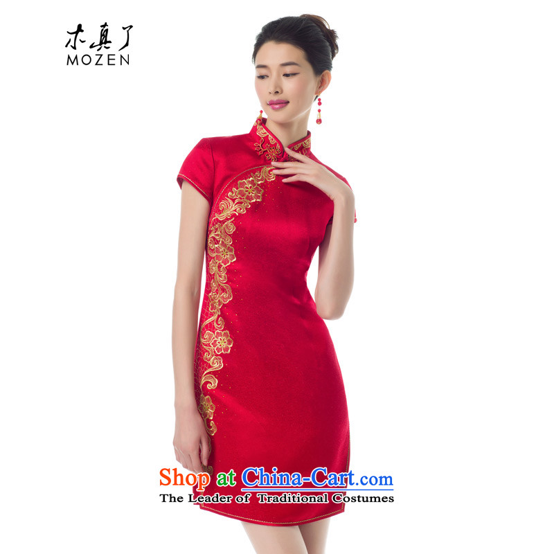 The women's true   2015 spring_summer load new marriages embroidery short skirts female Sau San stylish qipao 01214 Main line 05 Red燲L