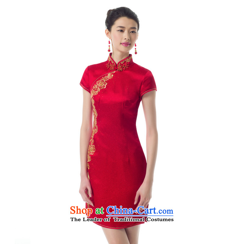 The women's true : 2015 spring/summer load new marriages embroidery short skirts female Sau San stylish qipao 01214 Main line 05 of聽the red wood really.... XL, online shopping
