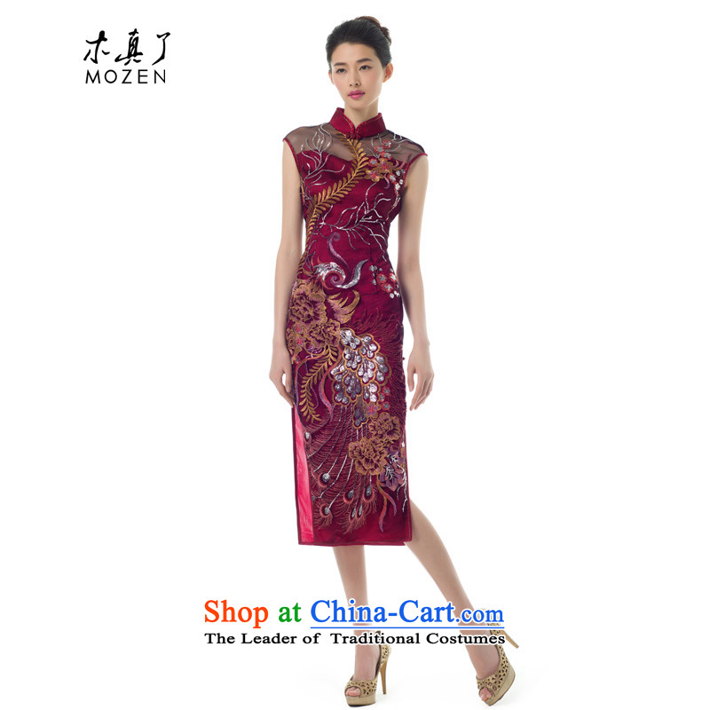 The women's true : 2015 spring/summer load new single-bong-long bright cheongsam dress with her mother-in-dress 11621 Sau San 04 Magenta�XL