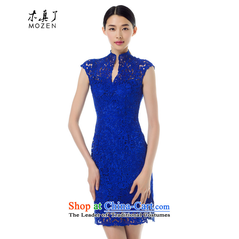 The Tang Dynasty outfits wood really fall 2015 load dress engraving cheongsam dress lace dresses summer new 42896 10 deep blue燣