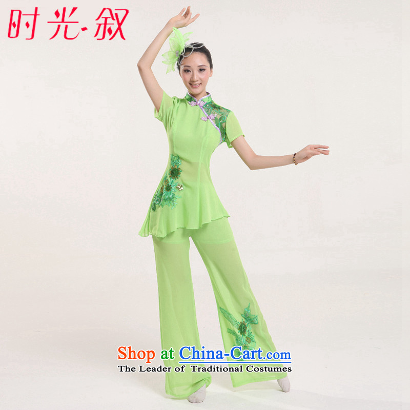 Time in elderly yangko groups serving dance performances to female Fan Dance classic dance Stage Costume waist encouraging new classic dance wearing apparels national theatrical performances green L