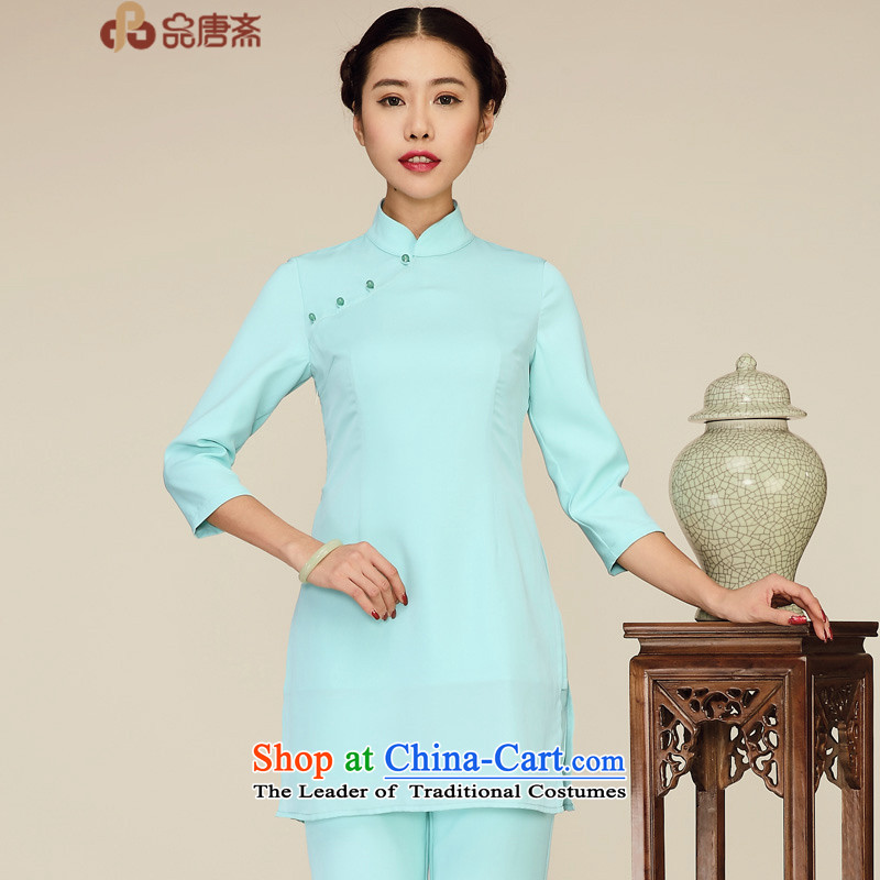 No. load short qipao Tang Ramadan 2015 T-shirt of ethnic retro blouses light green S