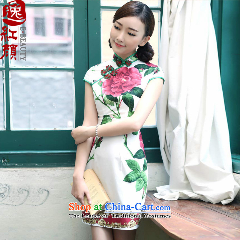 I should be grateful if you would have the escape lady Kyung Spring Summer daily cheongsam dress stylish improved national wind cheongsam dress White?2XL
