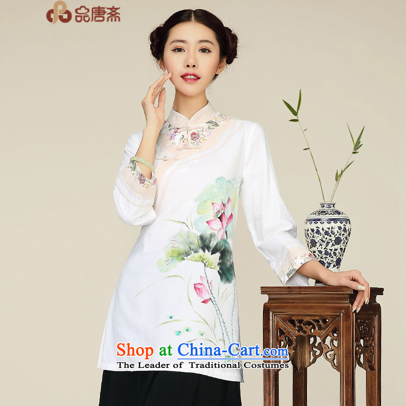No. Tang Spring Ramadan 2015 New China wind retro Sau San long cotton Linen Dress Shirt qipao improved white?S
