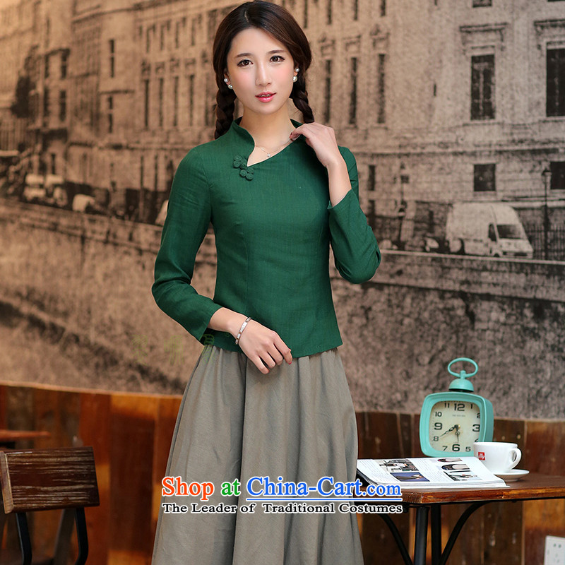 The cross-sa-Yun, Ms. Tang dynasty in the spring and summer of long-sleeved shirt qipao cotton linen Chinese ethnic women燾tbs SY720燗rmy Green _720_ 2XL