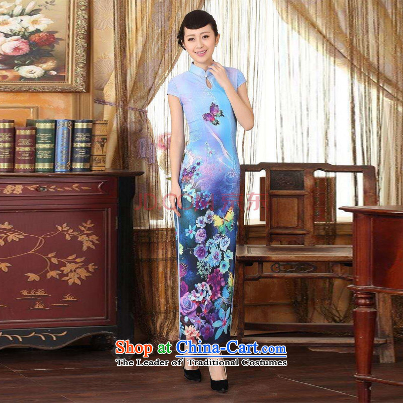 Min Ms. Joseph qipao Tang Dynasty Doi Fong water droplets collar short-sleeve long double qipao Sau San light blue燣