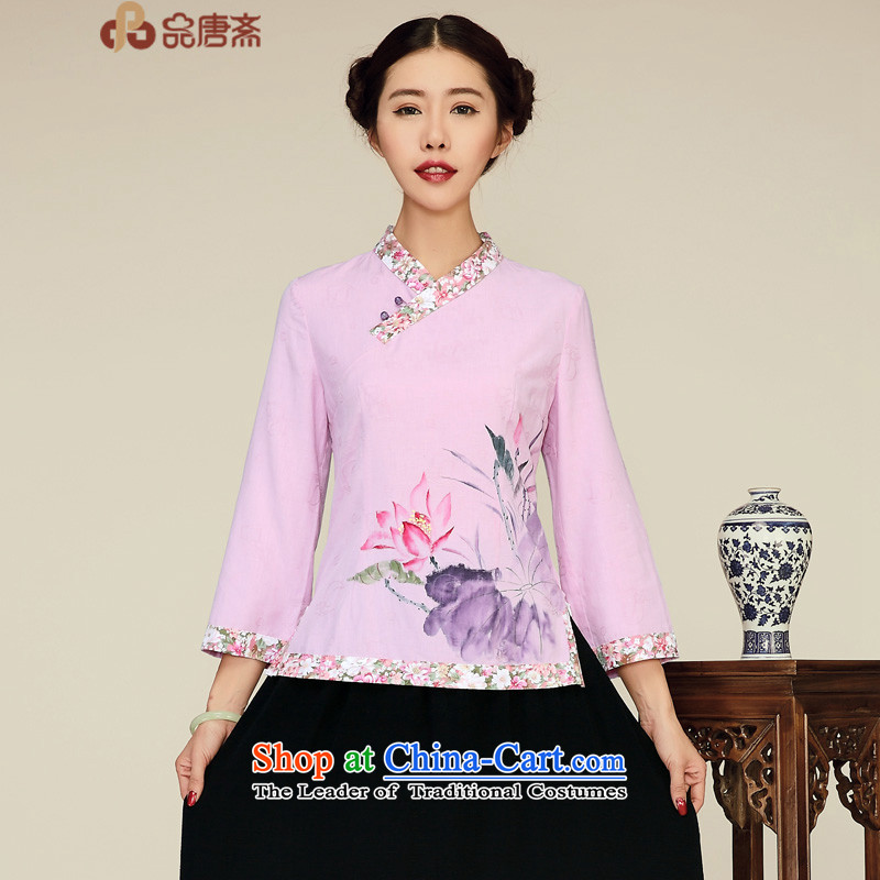 Products for the new fall short of Ramadan) Ethnic cotton linen retro improved Tang Dynasty Chinese blouses light purple S