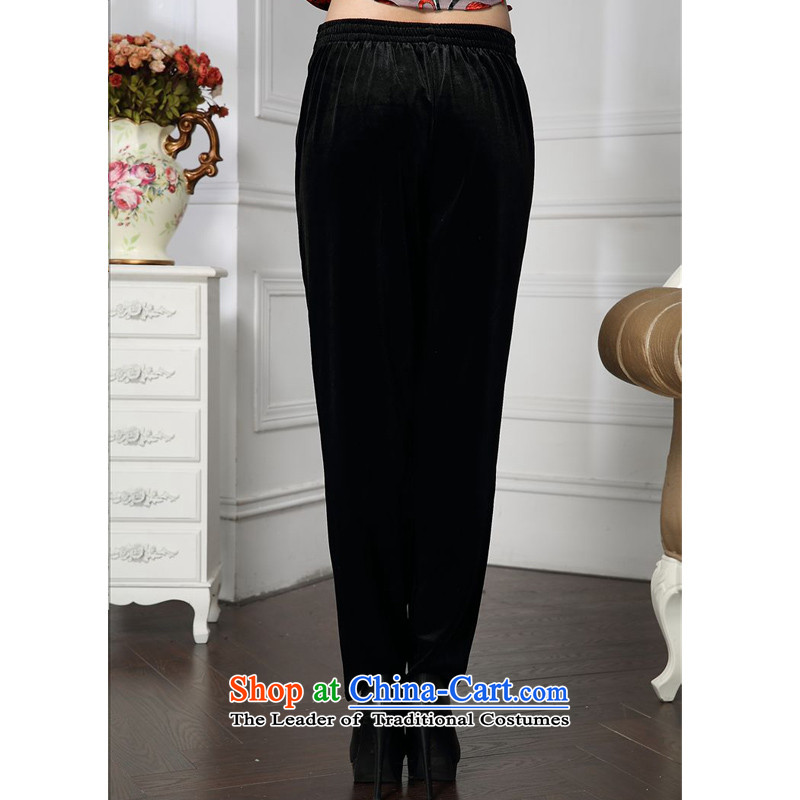 Forest narcissus spring and autumn 2015 install new stylish waist V-diamond mother boxed loose trousers and comfortable velvet HGL-4607 black?XXXL pants down