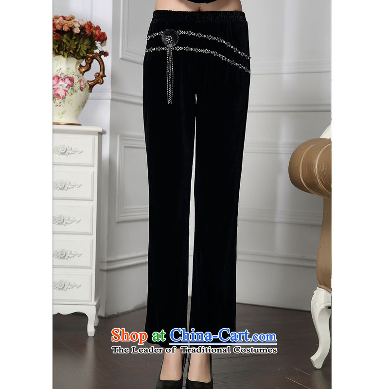 Forest narcissus spring and autumn 2015 install new stylish Sau San diamond waist with comfortable velvet pentagonal mother down HGL-4602 pants Black?XL