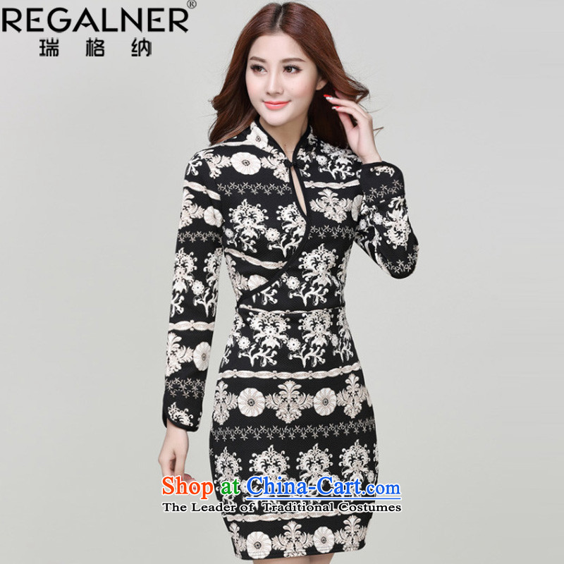 Rui, spring and autumn 2015 new engraving flowers stamp China wind long-sleeved Sau San cheongsam dress suit?S