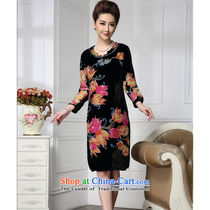 Forest narcissus spring and autumn 2015 install new stylish medium to long term, round-neck collar manually staple more comfortable and faster pearl stitching silk velvet HGL-675 orange toner flower?XXL