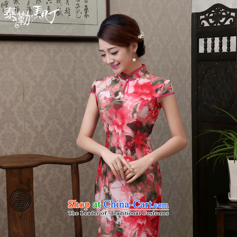 The spring and summer of 2015, Martin Taylor new daily long qipao retro improved graphics thin cheongsam dress Sau San sycamore cheongsam red聽XL