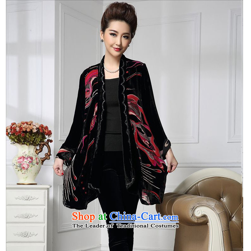 Forest narcissus spring and autumn 2015 install new stylish manually staple pattern in the Pearl River Delta Peacock older cardigan sauna silk velvet jacket HGL-671 stitching wine red聽XL