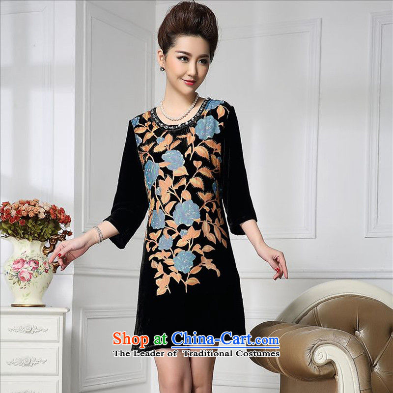 Forest narcissus spring and autumn 2015 install new stylish manually staple pattern in the Pearl River Delta rose long herbs extract stitching velvet HGL-669 XXXL blue