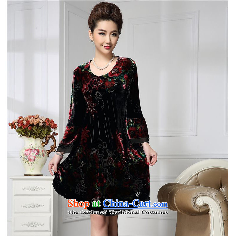 Forest narcissus spring and autumn 2015 install new stylish wide sleeves manually staple court beads in flower long herbs extract stitching velvet HGL-666 wine red燲XL