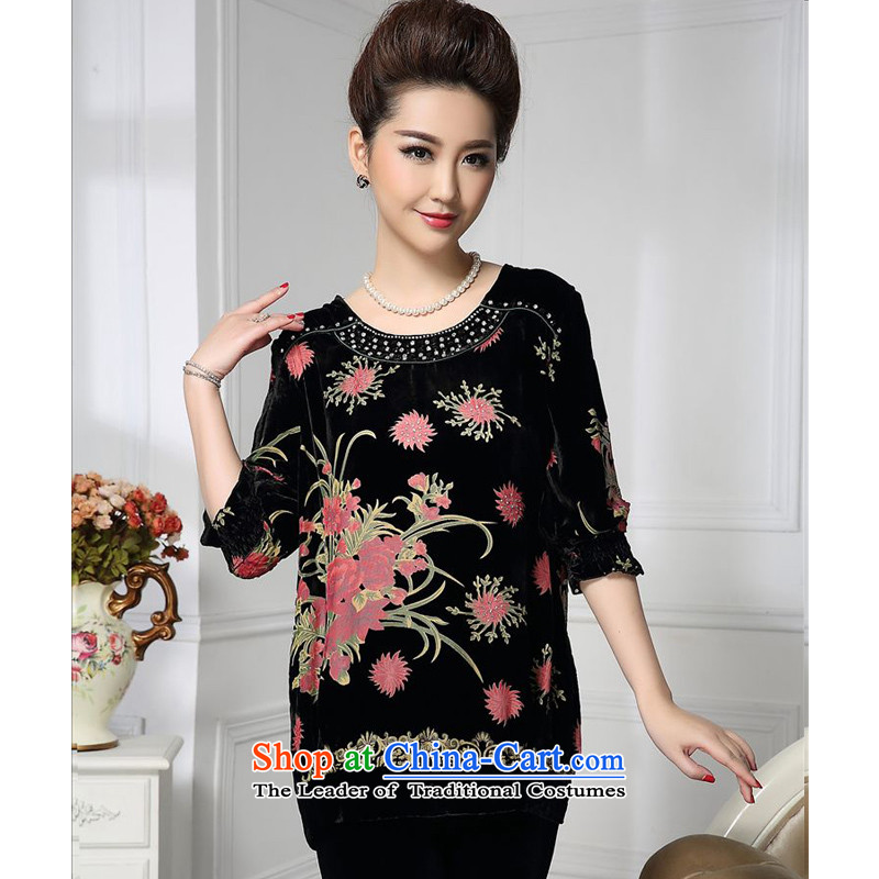 Forest narcissus spring and autumn 2015 install new stylish round-neck collar nail PEARL FLOWER generating cuffs mother load herbs extract stitching velvet jacket HGL-662 toner flower?XL