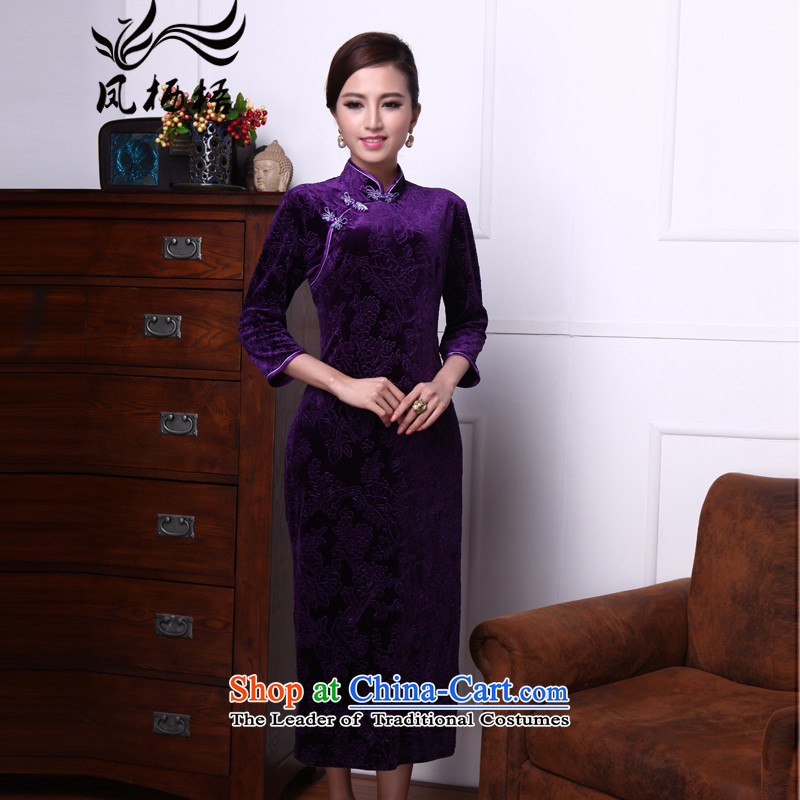 Bong-migratory 7475 first following the new 2015 retro-cashmere qipao long wool dresses temperament skirt DQ1512 PURPLE燲XL