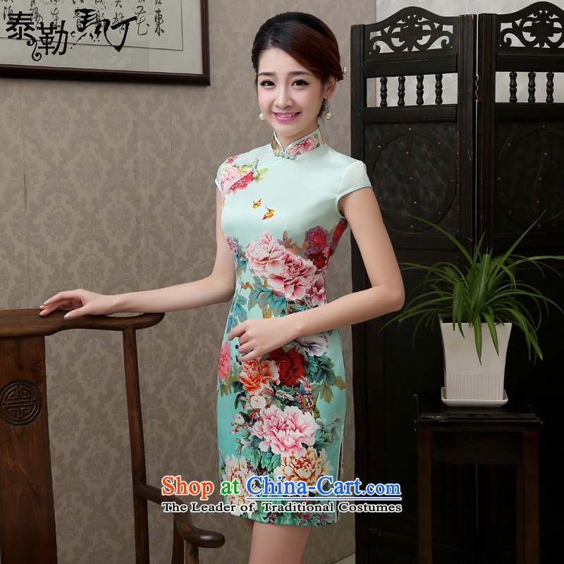 Martin Taylor in spring and summer 2015 New Silk Cheongsam look elegant daily stamp cheongsam dress short, Retro improved light green light green?XXL