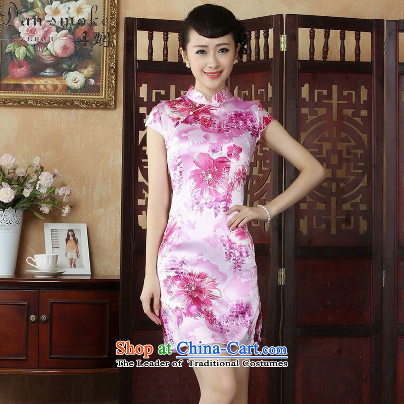Dan smoke CHINESE CHEONGSAM summer Tang dynasty qipao retro collar is pressed to improve women's mini cheongsam_ as shown in Figure short- S