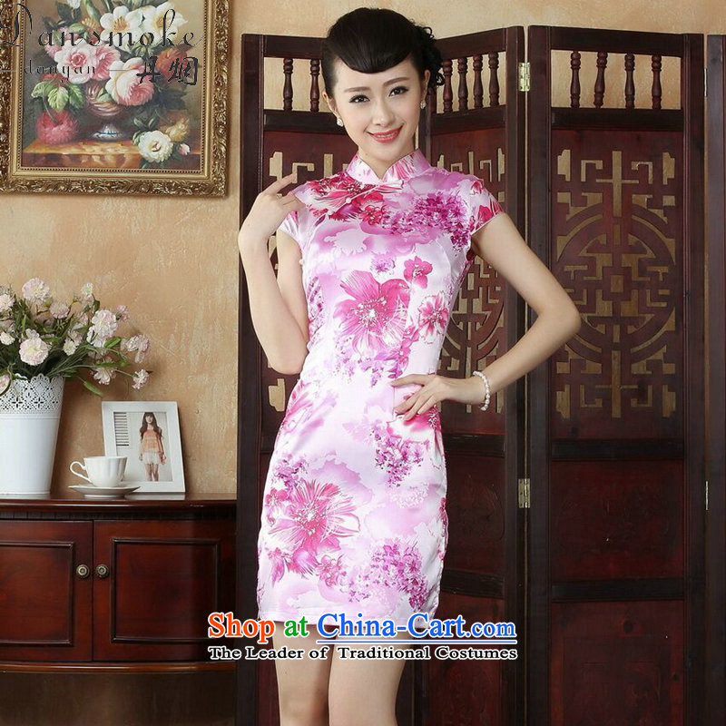 Dan smoke CHINESE CHEONGSAM summer Tang dynasty qipao retro collar is pressed to improve women's mini cheongsam) as shown in Figure short-聽S, Dan Smoke , , , shopping on the Internet