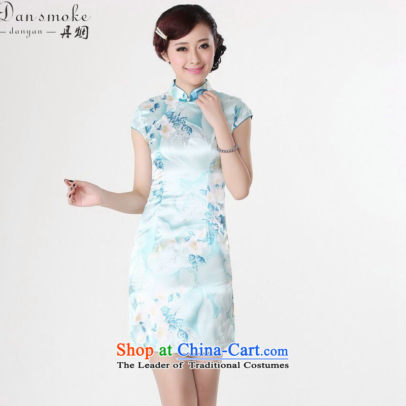Dan smoke new cheongsam dress summer improved retro collar is pressed to hand-painted silk cheongsam dress short Chinese improvement of light blue bin Laden smoke.... 2XL, shopping on the Internet