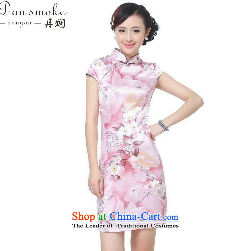 Dan smoke Women's Summer New Tang Dynasty Chinese qipao improved collar is pressed to Sau San retro stamp short of Qipao pink M