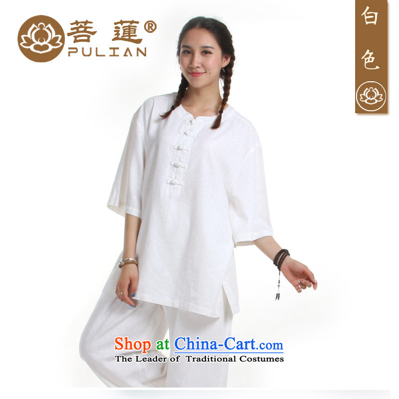 Special offers on Lin Flex-cotton women cotton linen in summer and fall short-sleeved Tai Chi Fist exercise clothing services services meditation yoga Services White燤