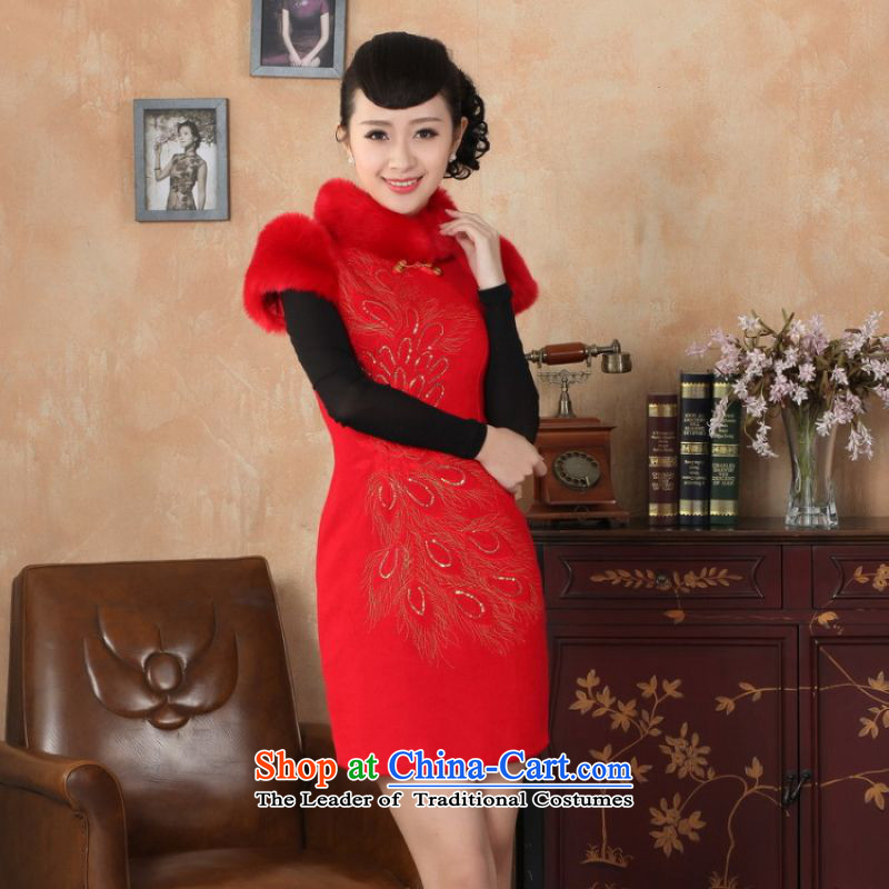 Ms. 27.41 picking qipao Tang Dynasty Fall_Winter Collections of nostalgia for the new improved wool rabbit hair? For embroidery cheongsam RED燤
