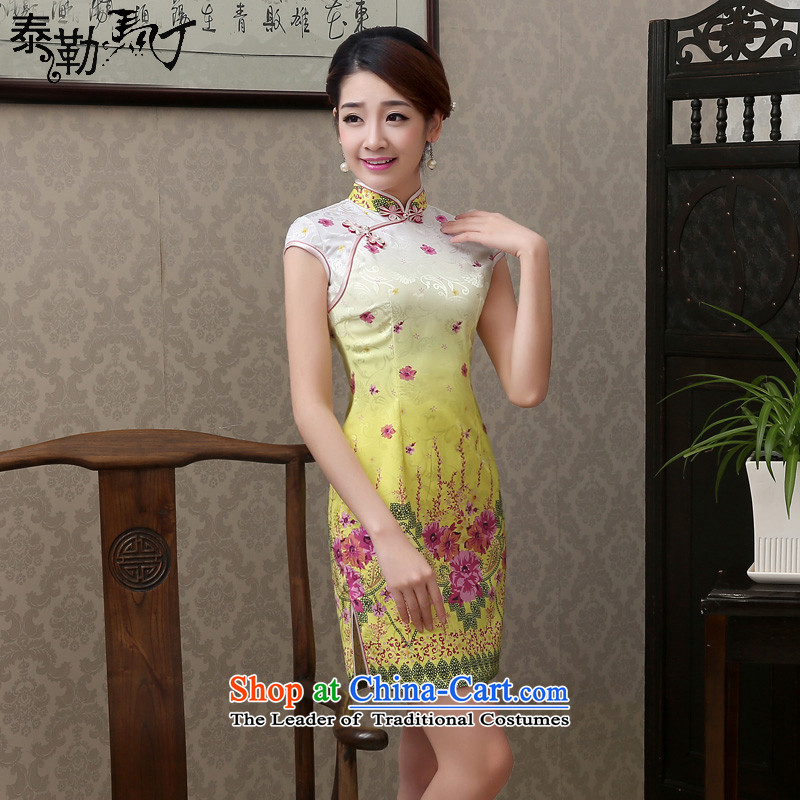 The spring and summer of 2015, Martin Taylor new large flower fair uncombed small short, improvement of Qipao fresh and stylish package and cheongsam dress Sau San elegant light yellow floral S