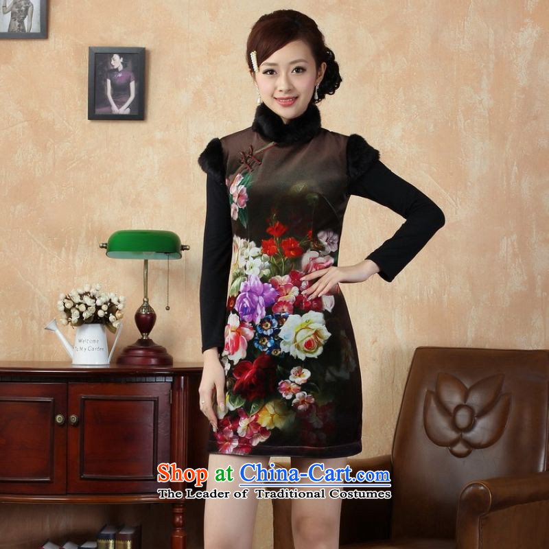 Ms. 27.41 picking qipao Tang dynasty improved winter cheongsam collar Foutune of dress dresses�-A picture color燬