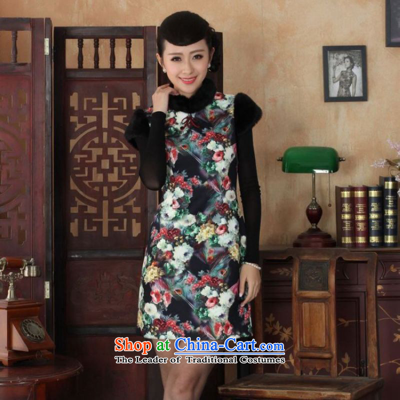 Ms. 27.41 picking qipao Tang dynasty improved winter cheongsam collar Foutune of dress dresses picture color 2XL