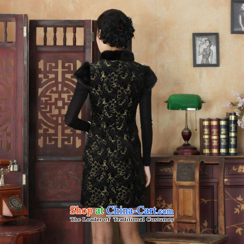 Ms. 27.41 picking qipao Tang dynasty improved winter cheongsam collar scouring pads plus lace Foutune of dress dresses?Y0025 map color?2XL