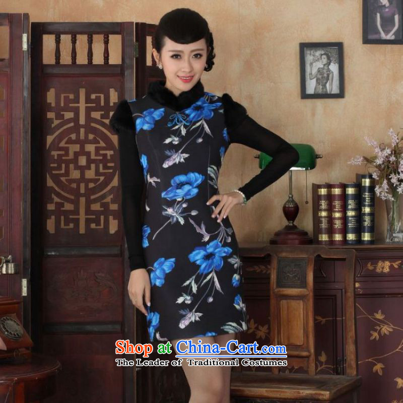 Ms. 27.41 picking qipao Tang dynasty improved winter cheongsam collar Foutune of dress dresses picture color燲L