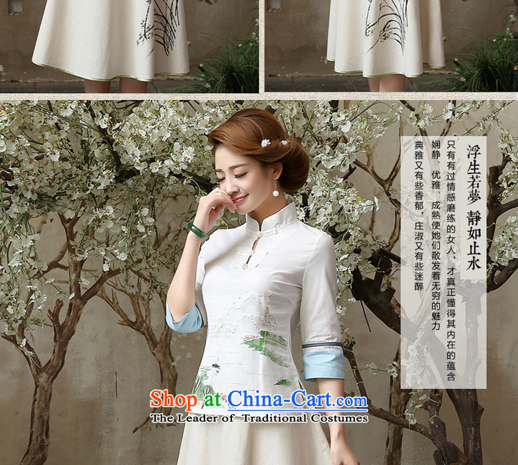 Qipao skirt shirt 2015 New Fall/Winter Collections of nostalgia for the improvement of the day-to-day fashion, long cotton linen dresses in cuff A0060 sleeved shirt + skirts, XL-waist 86cm photo, prices, brand platters! The elections are supplied in the national character of distribution, so action, buy now enjoy more preferential! As soon as possible.