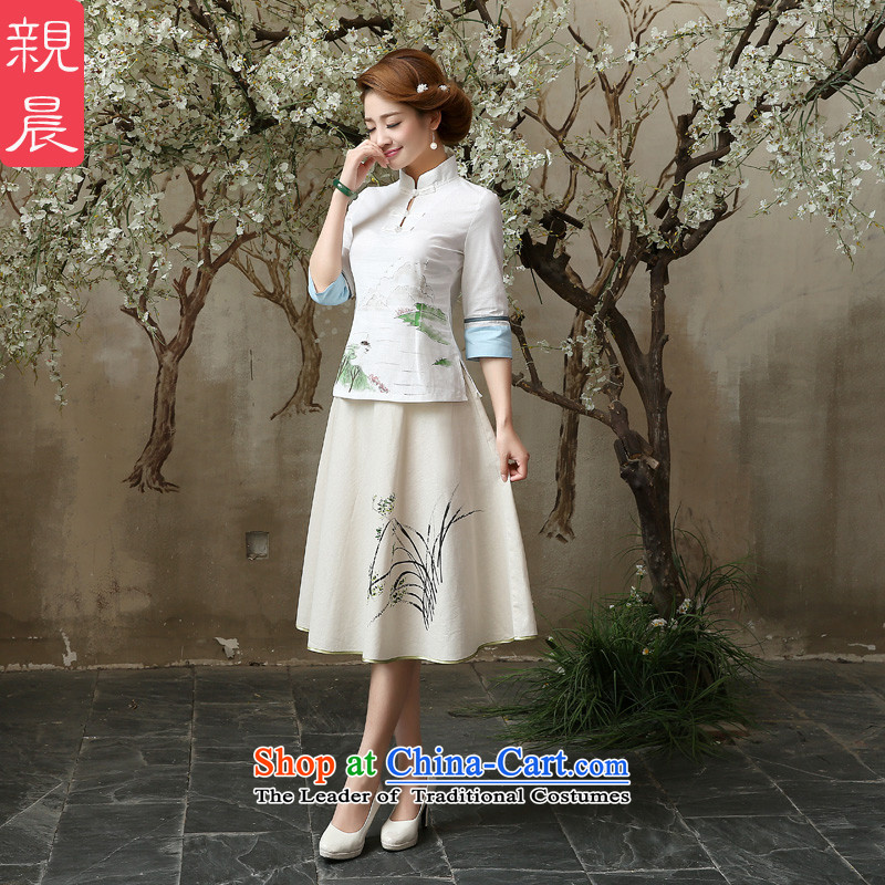 Qipao skirt shirt 2015 New Fall/Winter Collections of nostalgia for the improvement of the day-to-day fashion, long cotton linen dresses in cuff?A0060 sleeved shirt + skirts,?XL-waist 86cm