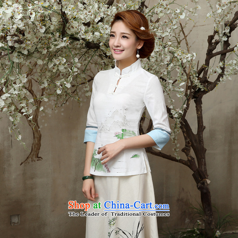 Qipao skirt shirt 2015 New Fall/Winter Collections of nostalgia for the improvement of the day-to-day fashion, long cotton linen dresses in cuff A0060 sleeved shirt + skirts, XL-waist 86cm, pro-am , , , shopping on the Internet