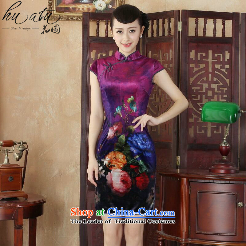 Spend the day-to-day cheongsam dress figure for summer new Chinese improved hand-painted silk cheongsam stylish beauty Kim short qipao figure color聽M