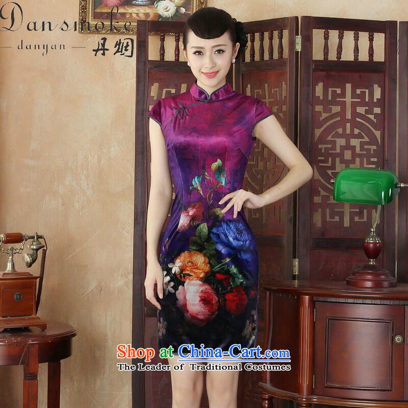 Dan smoke everyday cheongsam dress summer new Chinese improved hand-painted silk cheongsam stylish beauty Kim short qipao figure color聽L
