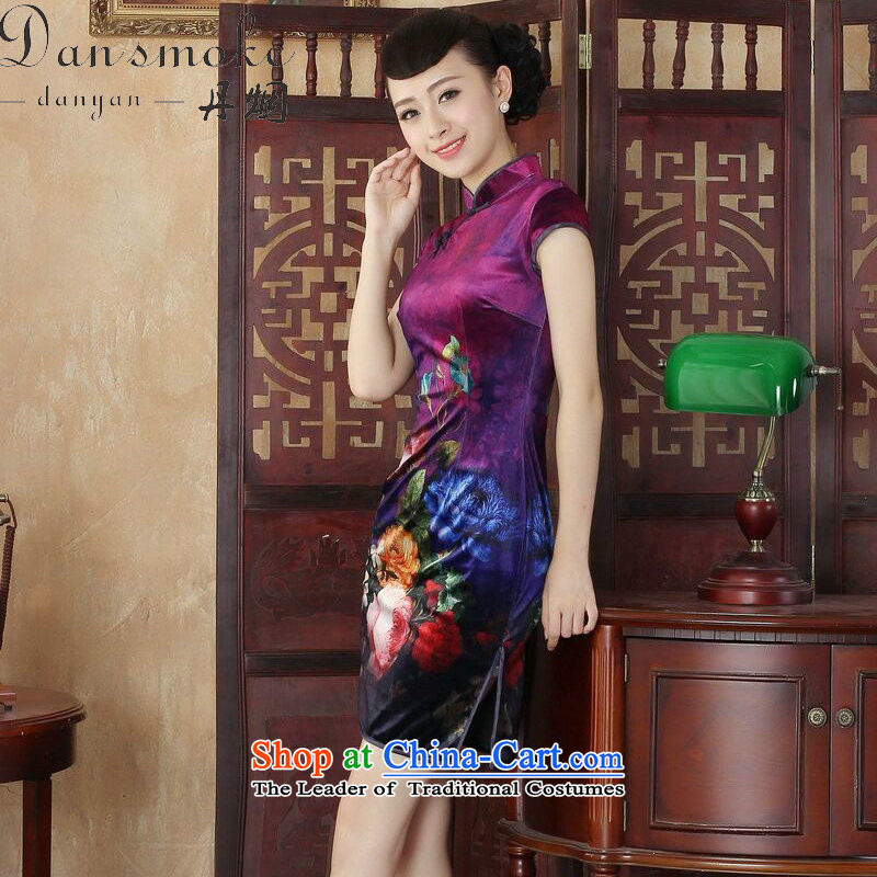 Dan smoke everyday cheongsam dress summer new Chinese improved hand-painted silk cheongsam stylish beauty Kim short qipao figure color聽L, Dan Smoke , , , shopping on the Internet