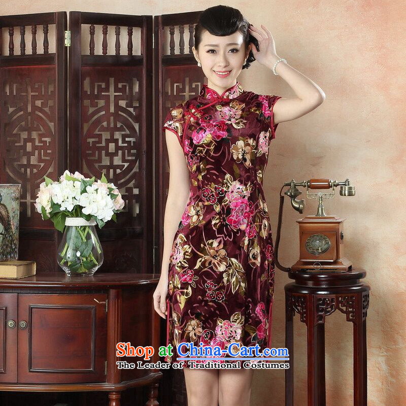 Take the new figure female qipao Tang Dynasty Chinese collar Kim scouring pads qipao stylish improved daily short Sau San cheongsam dress_聽2-color聽2XL