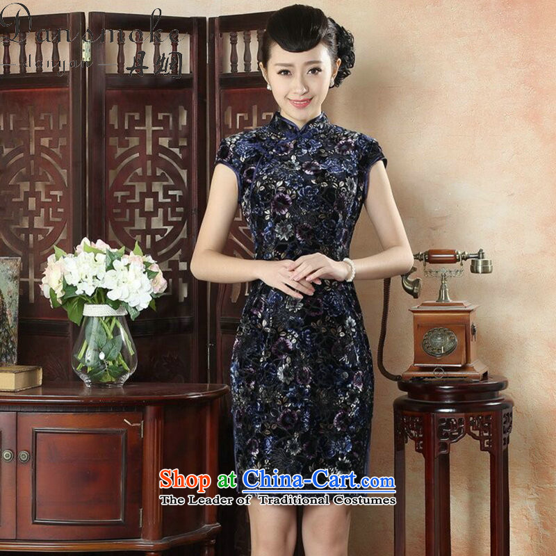 Dan breathing new for women cheongsam Tang Dynasty Chinese collar Kim scouring pads qipao stylish improved daily short Sau San cheongsam dress)?1-color?2XL