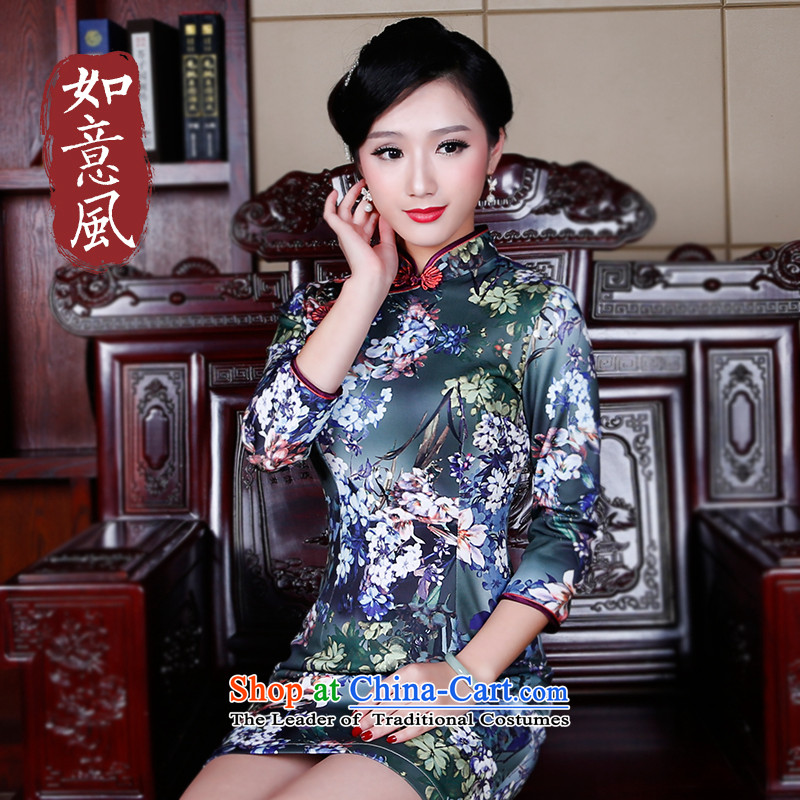 After a day of wind improved retro air layer qipao qipao spring 2015 new stylish in cuff dresses�, suit燲XL