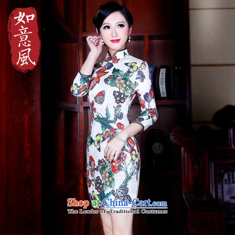 After a day of Wind?China wind in 2015 Stamp cuff cheongsam dress Stylish retro spring female qipao?5203 suit?L