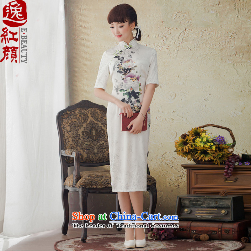 A Pinwheel Without Wind looked hibiscus spring and autumn Yat New Long Silk Cheongsam daily improved stamp sexy cheongsam dress ivory燬
