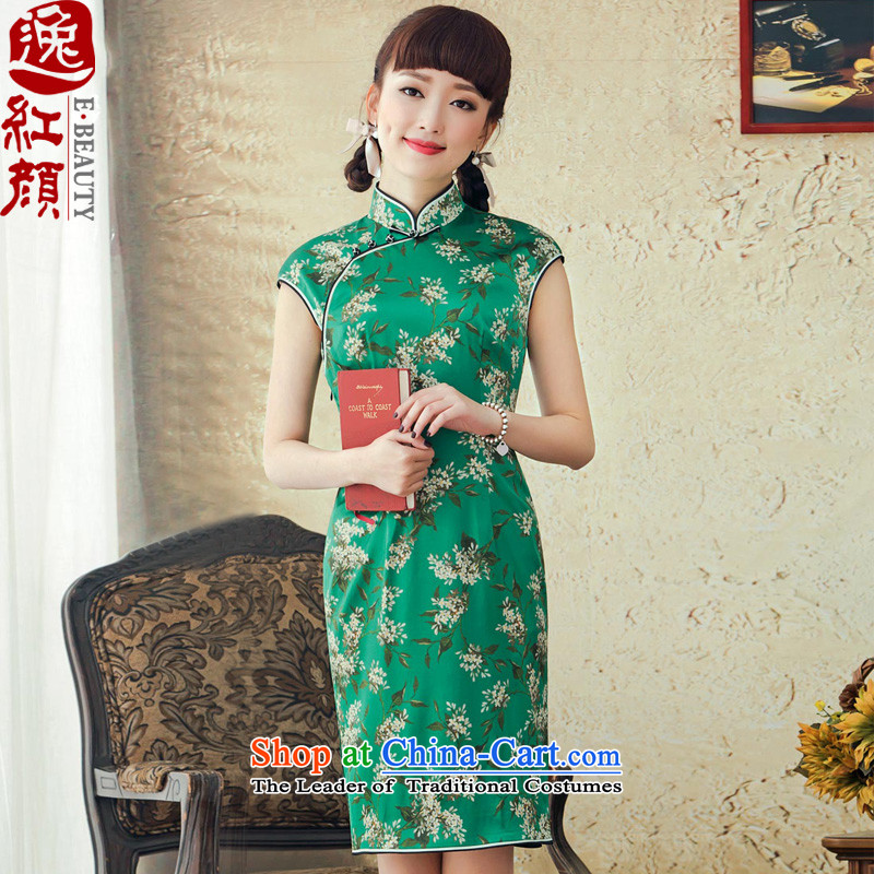 A Pinwheel Without Wind spend the summer escape silk cheongsam dress improved stylish short spring and summer 2015 new sexy cheongsam dress green燬