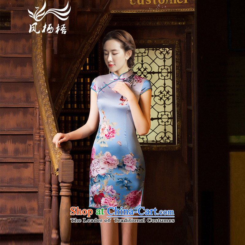 Bong-migratory 7475 following a new summer 2015, Peony, Heavyweight Silk Cheongsam retro temperament Sau San herbs extract qipao DQ1546 light blue?XXL