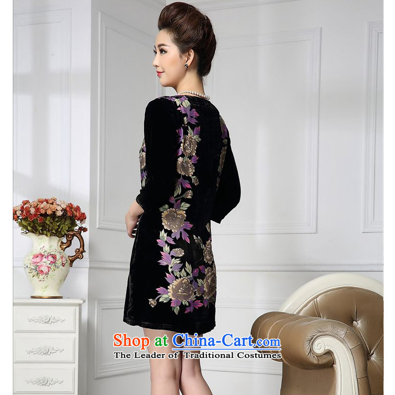Spring 2015 narcissus forest on a new diamond :fuguihua elderly people in the Tang dynasty mother replacing qipao silk stitching sauna silk velvet dresses HGL-659 XXXL, daisy-chained forest (senlinshuixian narcissus) , , , shopping on the Internet