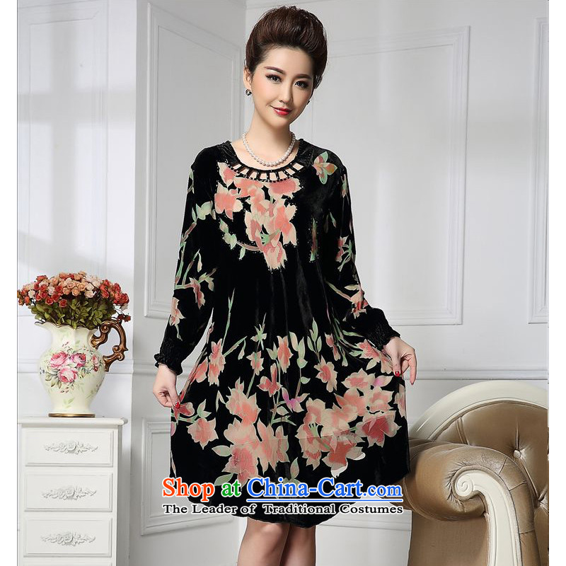 Forest narcissus spring and autumn 2015 Install new round-neck collar diamond producing cuffs Tang dynasty mother replacing cheongsam silk stitching sauna silk velvet dresses HGL-658 toner flower?XXL