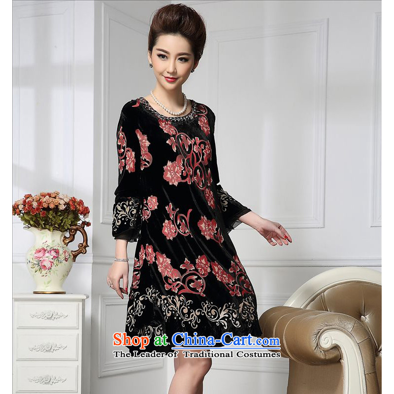 Forest narcissus spring and autumn 2015 loaded on the new volume pattern width cuffs Tang dynasty mother replacing cheongsam silk stitching sauna silk velvet dresses HGL-656 SAFFLOWER?XL
